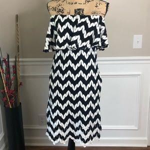 M Judith March Chevron strapless dress